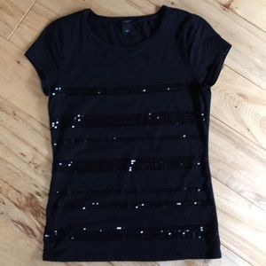 Sequined T shirt black